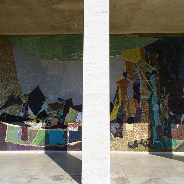 Mosaik am Eingang des Kollegienhauses: Kennen und Erkennen von Coghuf (1965)