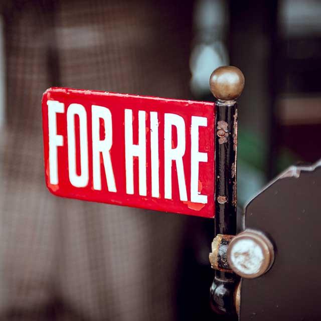 Schild «for hire»